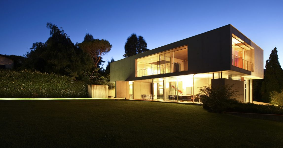 21018621 - modern house, exterior at the night