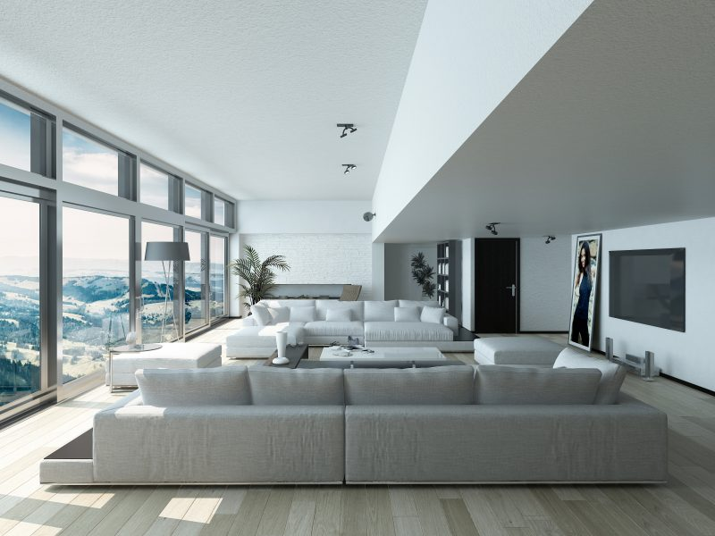 Modern Living Room Design with Elegant Couches Inside Architectural House with Glass Window Style.