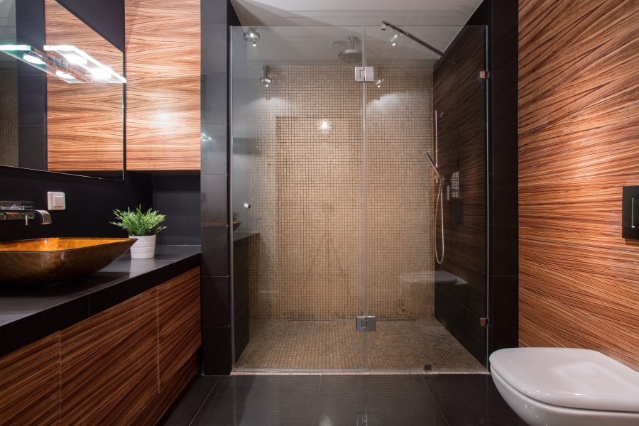 Picture of wooden details in luxury bathroom