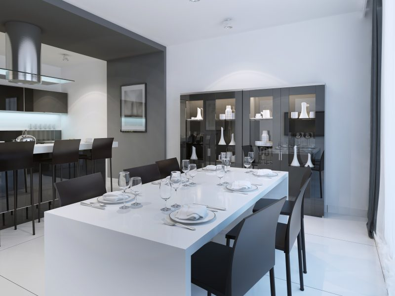 Contemporary dining with served white table. 3D render