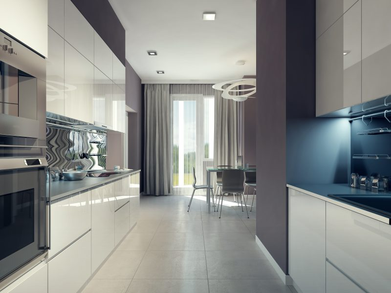Bright kitchen design. 3d render