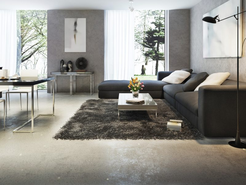 Modern interior of living room, 3d images